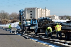 March 2019 - A crew removes the guiderail that separated the on and off ramps for the eastbound Street Road (Route 132)/U.S. 1 Interchange. The ramps are being rebuilt as part of northbound construction on U.S. 1.