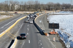 March 2019 - Eastbound Street Road (Route 132) traffic at the temporary intersection providing access to and from northbound U.S. 1.