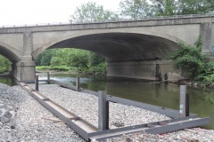 June 2021 - The contractor installs support of excavation for construction of the new bridge over Neshaminy Creek.