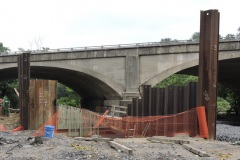 July 2021 - Temporary shoring is in place for construction of the new bridge carrying U.S. 1 over the Neshaminy Creek.