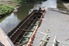 August 2021 - Looking down at the under-construction center pier for the new U.S.1 bridge over the Neshaminy Creek.