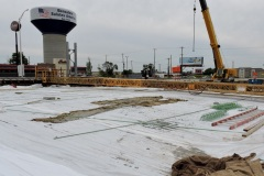 August 2021 - Wet tarps are placed to cure the newly placed concrete on the southbound U.S.1 bridge over the Pennsylvania Turnpike.