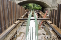 August 2021 - Workers construct a footer for an abutment for the new bridge carrying U.S. 1 over the Neshaminy Creek.